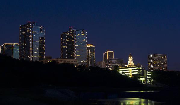 City Fort Worth Night Skyline by Matthew Miller