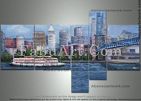 Cincinnati Multipanel cityscape painting by FabuArt