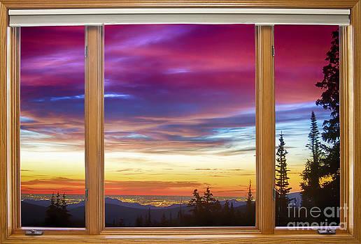 James BO  Insogna - City Lights Sunrise Classic Wood Window View