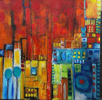 Cityscape in red by Aisha Khan