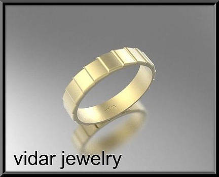 Classic 14k Yellow Gold Men's Wedding Ring by Roi Avidar