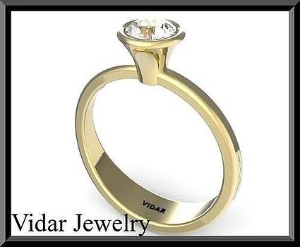 Classic Round Diamond 14k White Gold Engagement Ring  by Roi Avidar