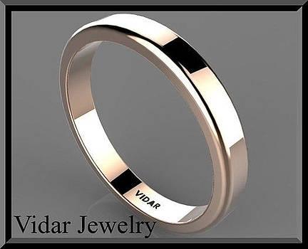 Classic Simple 14k Rose Gold Men's Wedding Ring  by Roi Avidar