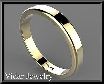 Classic Simple 14k Yellow Gold Men's Wedding Ring by Roi Avidar