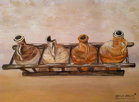 Clay Jugs in a Row by Brenda Brown