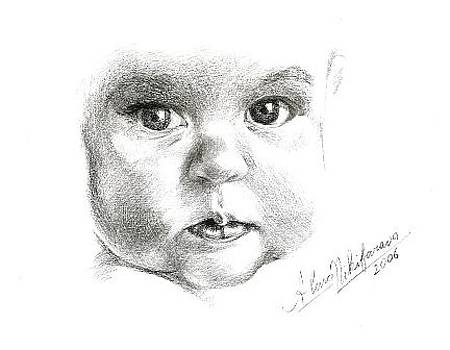 Close up portrait of baby. Commission. by Alena Nikifarava