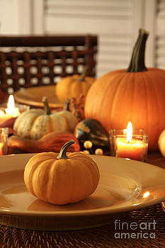 Sandra Cunningham - Closeup of  autumn place setting for Thanksgiving