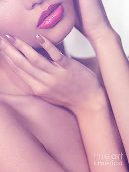 Closeup of sensual woman mouth and pink lips by Oleksiy Maksymenko