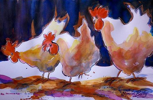 Three Cluckers Original SOLD by Therese Fowler-Bailey