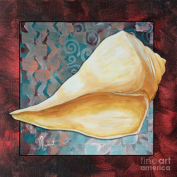 Coastal Decorative Shell Art Original Painting Sand Dollars ASIAN INFLUENCE II by Megan Duncanson by Megan Duncanson