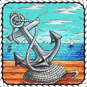 Coastal Nautical Decorative Art Original Painting Anchor Rope and Dock ANCHORS AWAY by MADART by Megan Duncanson