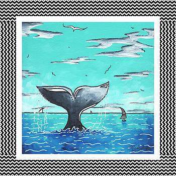 Coastal Nautical Decorative Art Original Painting Whale Tail Chevron Pattern SEA FARER by MADART by Megan Duncanson