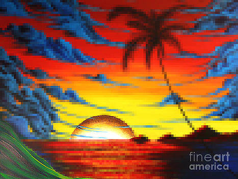 Coastal Tropical Abstract Colorful Pixel Art Digital Painting Compilation TROPICAL BLISS by MADART by Megan Duncanson