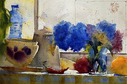 Coffee pot and hydrangea by Andre MEHU