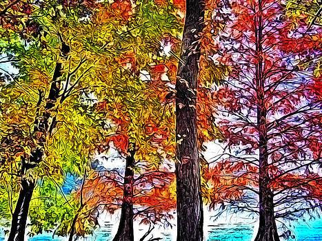 Colorful Autumn Lakeside Trees by Kyle Ferguson