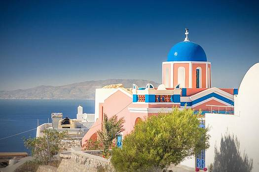 Colorful Church in Santorini by Bjoern Kindler