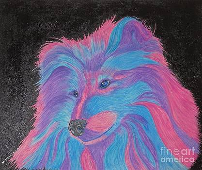 Colorful Collie Water Color Pencil by Margaret Newcomb