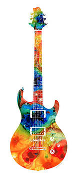Sharon Cummings - Colorful Electric Guitar 2 - Abstract Art By Sharon Cummings