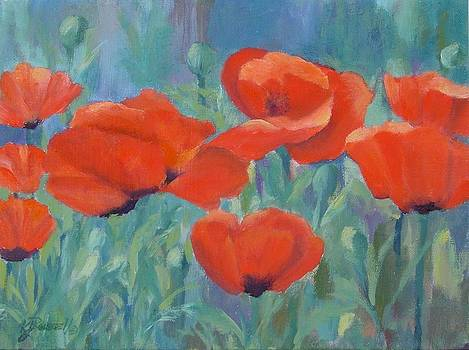 K Joann Russell - Colorful Flowers Red Poppies Beautiful Floral Art
