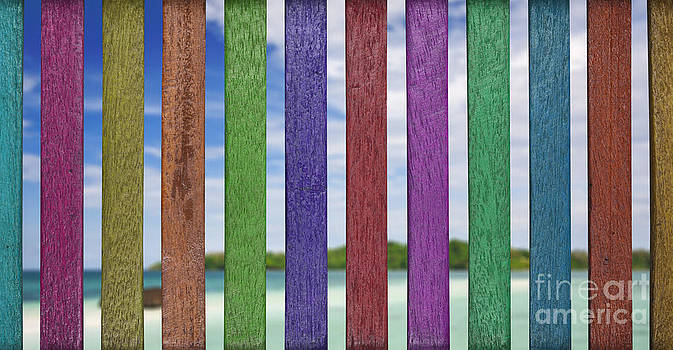 Colorful Lath With Beach Background Included Clipping Path by Pakorn Kitpaiboolwat