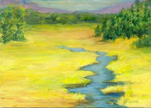 Colorful Original Landscape Painting Mountain Meadow by K Joann Russell