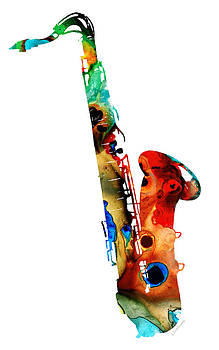 Sharon Cummings - Colorful Saxophone by Sharon Cummings