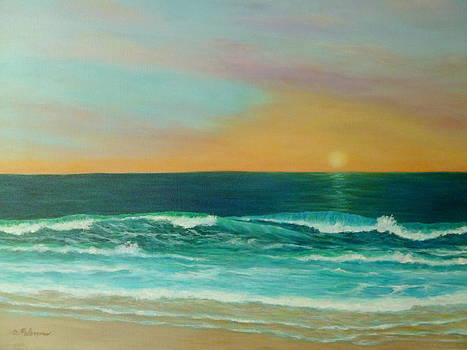 Colorful Sunset Beach Paintings by Amber Palomares
