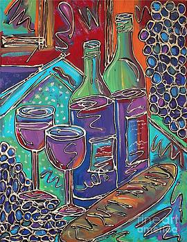 Colorful Wine Table by Cynthia Snyder