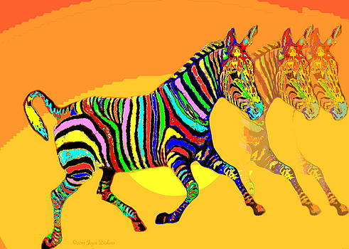 Joyce Dickens - Colorful Zebra X3 _ The Card