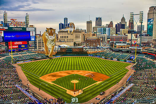 Comerica Park Detroit MI with the Tigers by Nicholas  Grunas