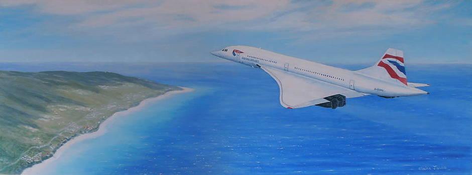 Concorde Over Barbados by Elaine Jones