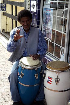 Conga Player in Little Havana by Carolyn Mortensen