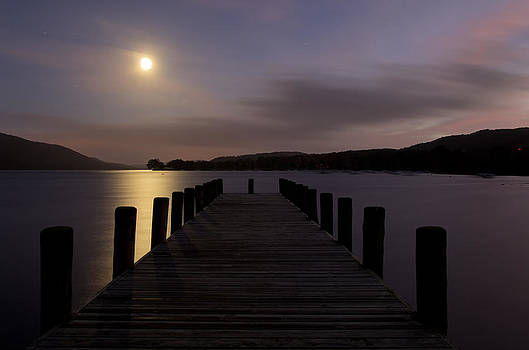 Consiton Jetty in Moon light by Pete Hemington