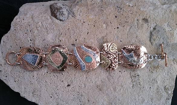 Copper Fine Silver Brass Plaque Bracelet by Dyan  Johnson