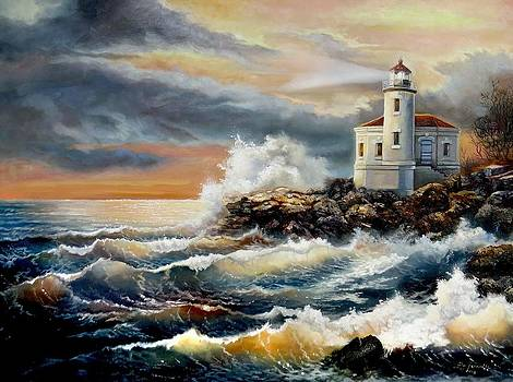 Coquille River Lighthouse at HighTide by Gina Femrite