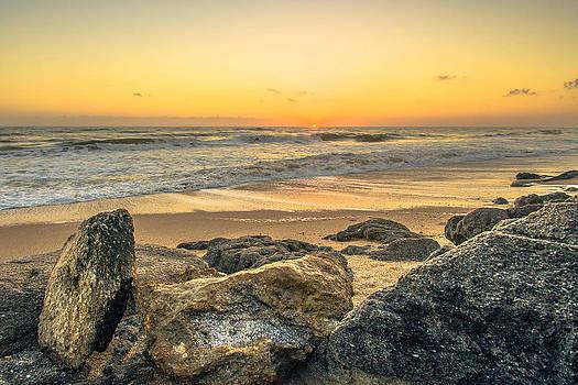 Coquina Rocks Sunrise in New Smyrna Beach by DM Photography- Dan Mongosa