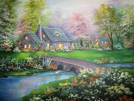 Cottage Across the Bridge by Debra Campbell
