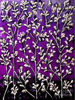 Cotton Flowers with Purple- Violet Background by Cynthia Snyder