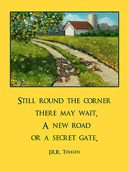 Joyce Geleynse - Country Lane With Quote by Tolkien