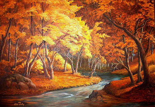 Country Stream in the Fall by Loxi Sibley
