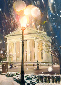 Courthouse in snow with Light by Mary Vollero
