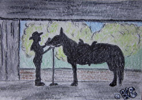 Cowgirl Horse Silhoutette by Kathy Marrs Chandler