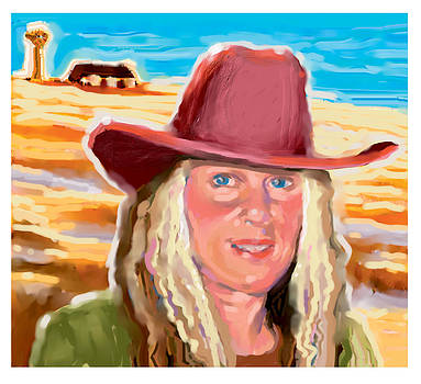 Cowgirl with Red Hat by Renee Peterson