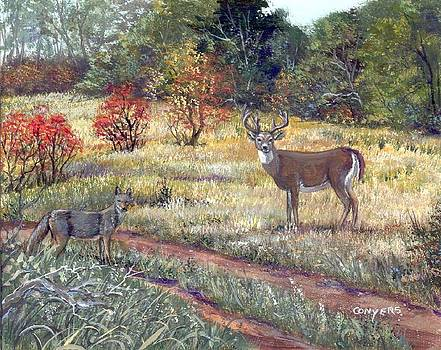 Coyote and Mule Deer by Peggy Conyers