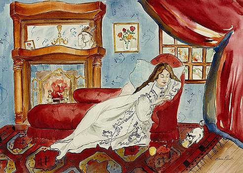 Cozy Comfort and a Curious Cat by Elaine Elliott