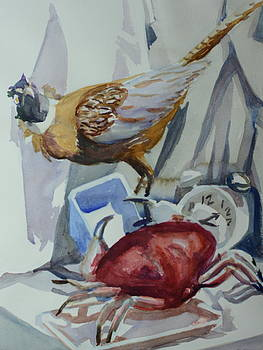 Crab Confronts Pheasant Over Empty Container by Margaret Montgomery