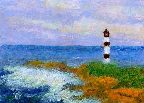 Crashing Waves by Lighthouse by Arlene Babad