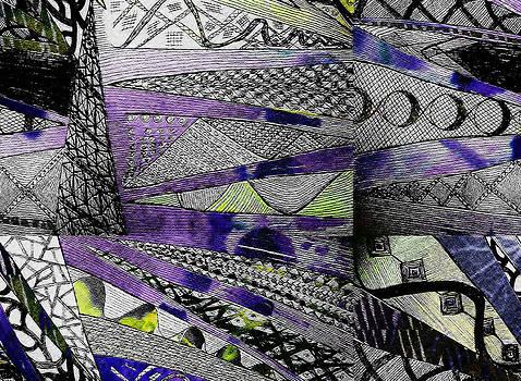 Crazy Cones Purple Green by Linda Francis