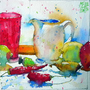 Creamer and pink glass by Andre MEHU