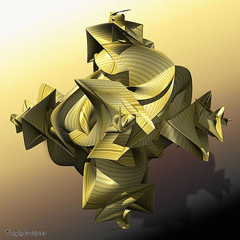Creased cross.  2013  80/80 cm.  by Tautvydas Davainis
